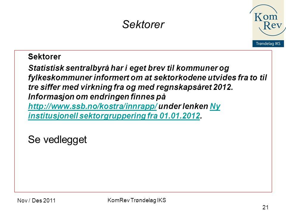 KomRev Trøndelag IKS Nov / Des 2011 21 Sektorer Statistisk sentralbyrå har i eget brev til kommuner og fylkeskommuner informert om at sektorkodene utvides fra to til tre siffer med virkning fra og med regnskapsåret 2012.