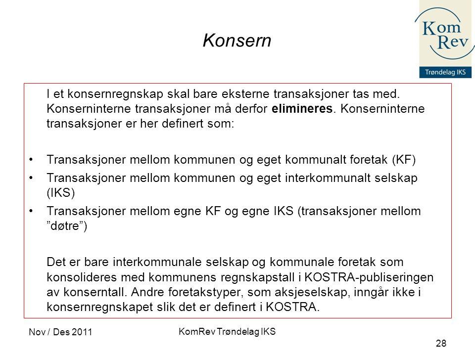 KomRev Trøndelag IKS Nov / Des 2011 28 Konsern I et konsernregnskap skal bare eksterne transaksjoner tas med.