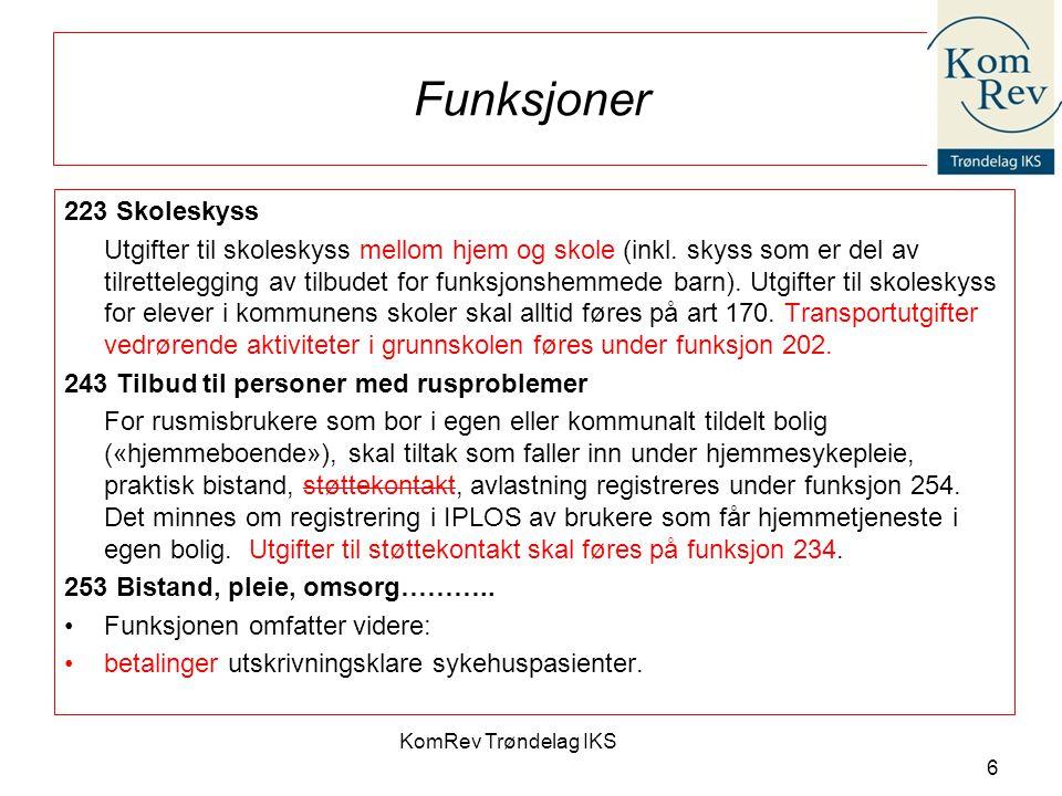 KomRev Trøndelag IKS 6 Funksjoner 223 Skoleskyss Utgifter til skoleskyss mellom hjem og skole (inkl.