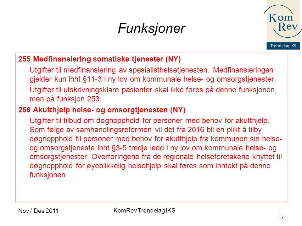 KomRev Trøndelag IKS Nov / Des 2011 7 Funksjoner 255 Medfinansiering somatiske tjenester (NY) Utgifter til medfinansiering av spesialisthelsetjenesten.