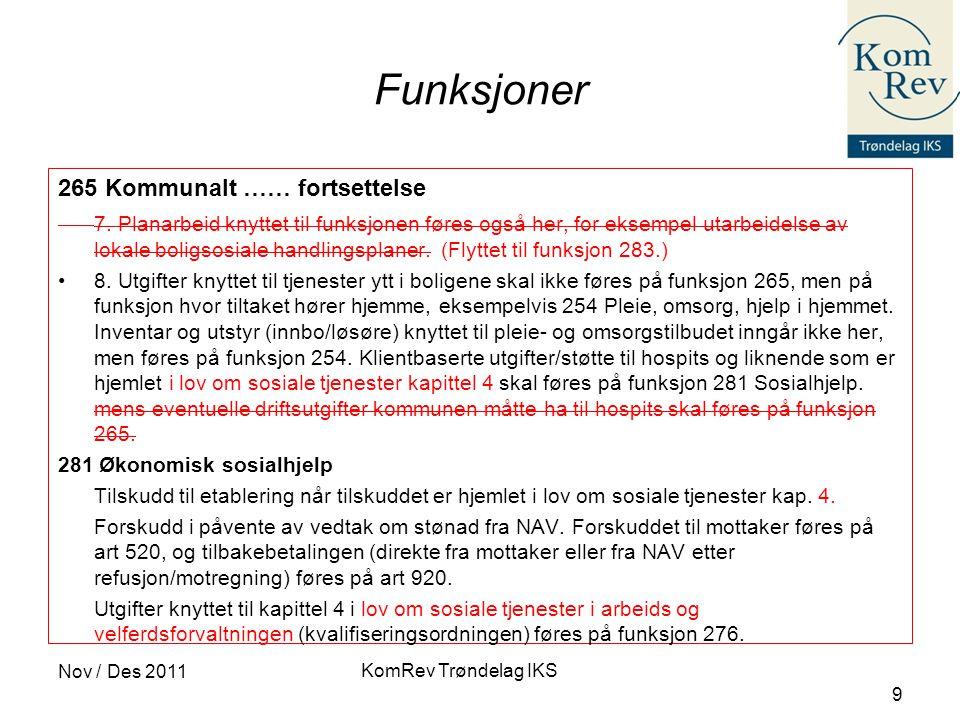 KomRev Trøndelag IKS Nov / Des 2011 9 Funksjoner 265 Kommunalt …… fortsettelse 7.