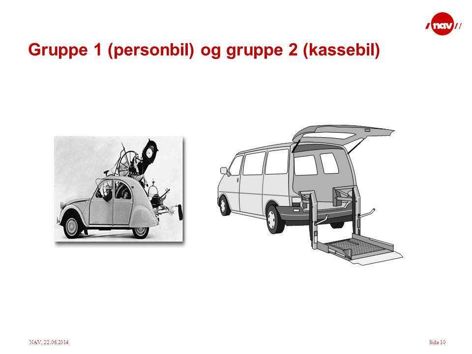 NAV, 22.06.2014Side 10 Gruppe 1 (personbil) og gruppe 2 (kassebil)