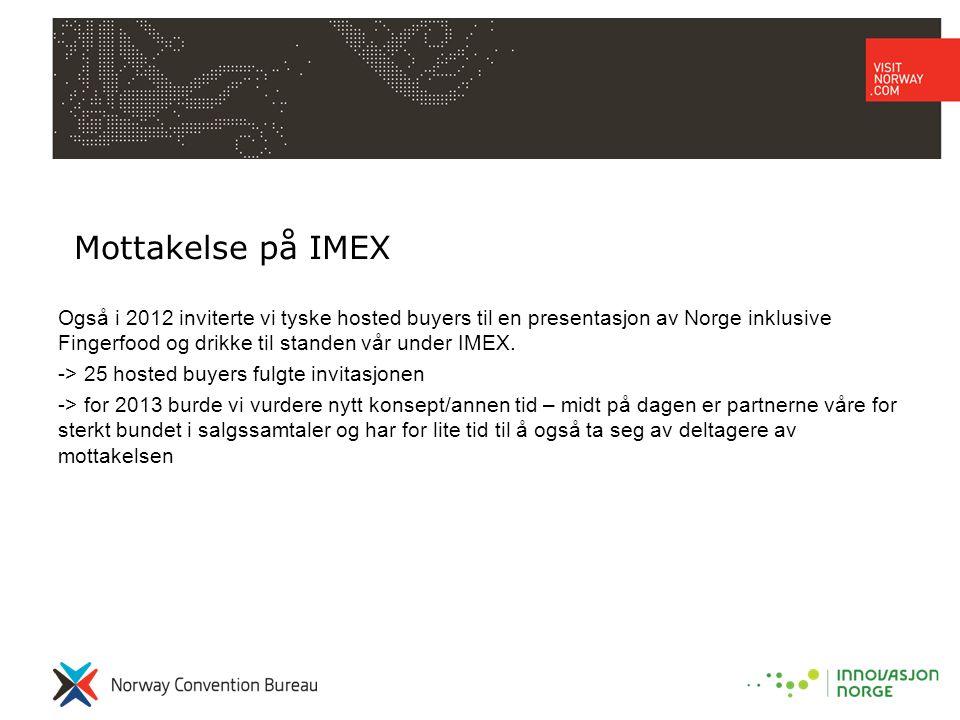 Mottakelse på IMEX Også i 2012 inviterte vi tyske hosted buyers til en presentasjon av Norge inklusive Fingerfood og drikke til standen vår under IMEX.