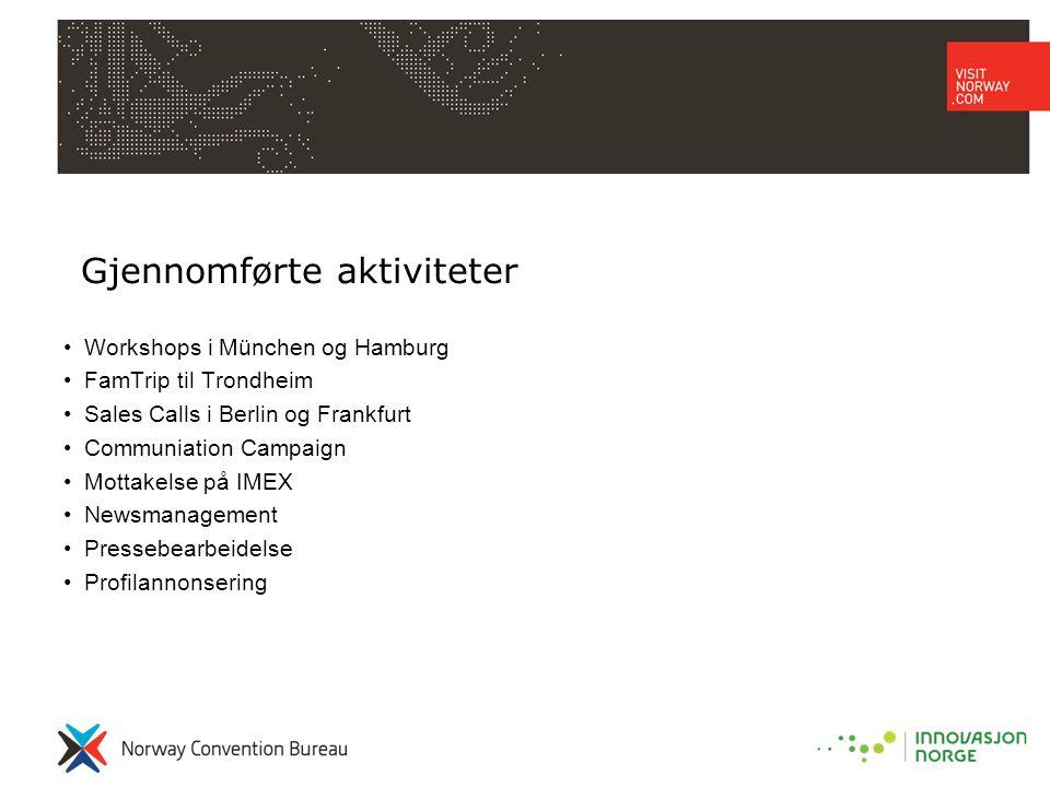 Gjennomførte aktiviteter •Workshops i München og Hamburg •FamTrip til Trondheim •Sales Calls i Berlin og Frankfurt •Communiation Campaign •Mottakelse på IMEX •Newsmanagement •Pressebearbeidelse •Profilannonsering
