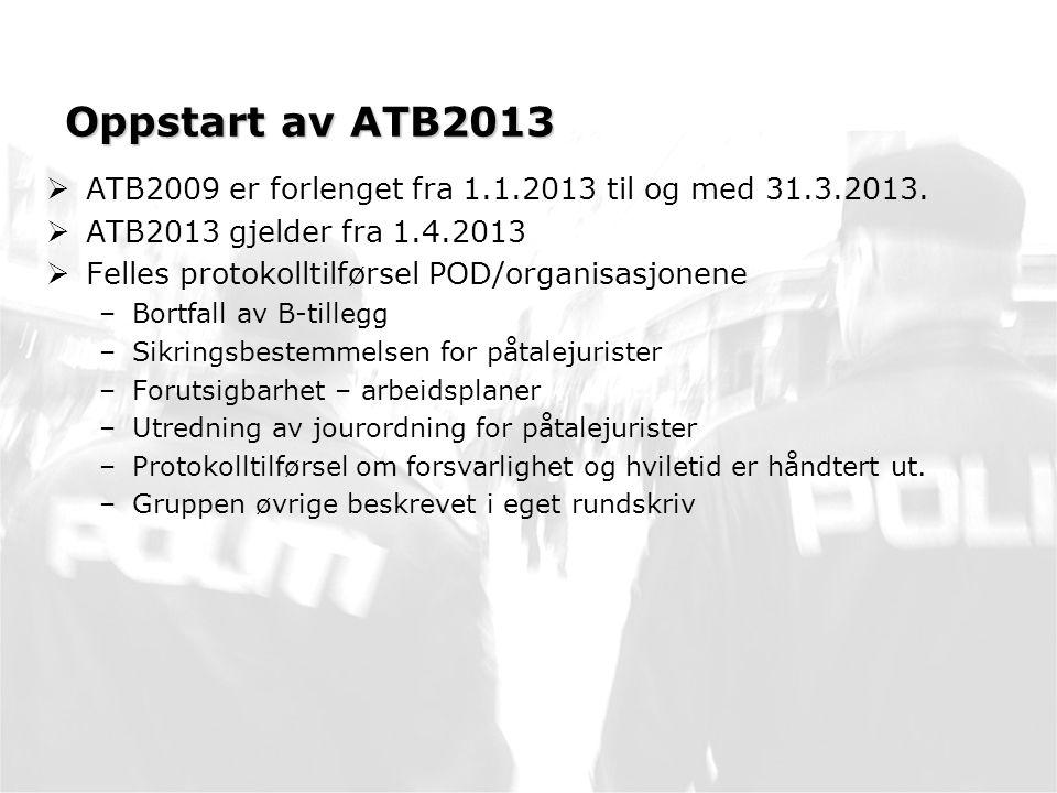 Oppstart av ATB2013  ATB2009 er forlenget fra 1.1.2013 til og med 31.3.2013.