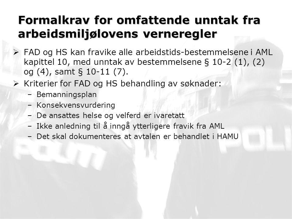 Formalkrav for omfattende unntak fra arbeidsmiljølovens verneregler  FAD og HS kan fravike alle arbeidstids-bestemmelsene i AML kapittel 10, med unntak av bestemmelsene § 10-2 (1), (2) og (4), samt § 10-11 (7).