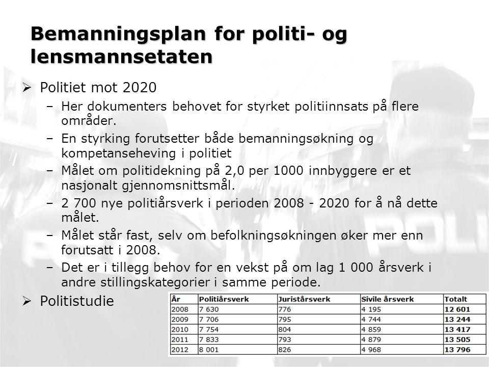 Bemanningsplan for politi- og lensmannsetaten  Politiet mot 2020 –Her dokumenters behovet for styrket politiinnsats på flere områder.