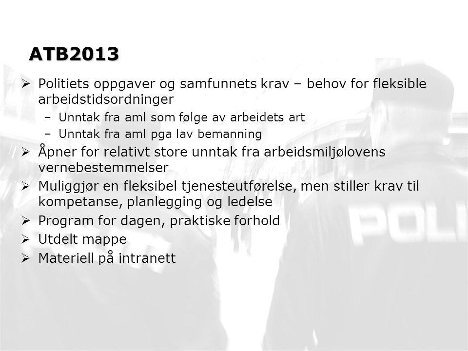 Videre arbeid  Nytt i PSV: –Rapportering på bruk av 150% og 200% overtid –Rapportering på bruk unntak under 11 timer –Rapportering på bruk av unntak under 8 timer –Tallgrunnlag hentes fra SAP og legges inn av POD/PDMT pr måned pr distrikt/særorgan.