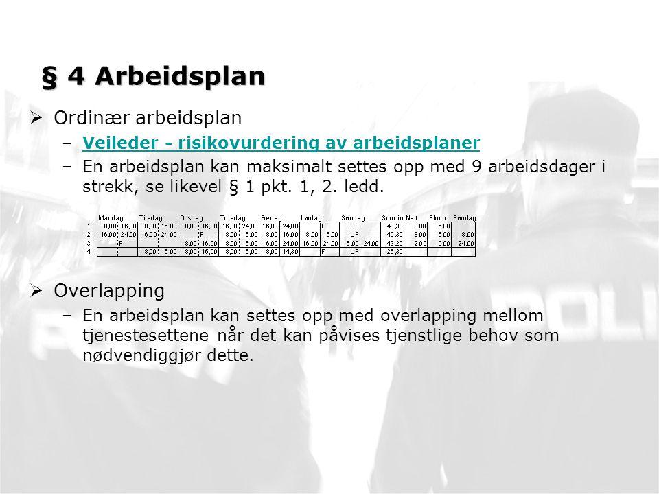 § 4 Arbeidsplan  Ordinær arbeidsplan –Veileder - risikovurdering av arbeidsplanerVeileder - risikovurdering av arbeidsplaner –En arbeidsplan kan maksimalt settes opp med 9 arbeidsdager i strekk, se likevel § 1 pkt.