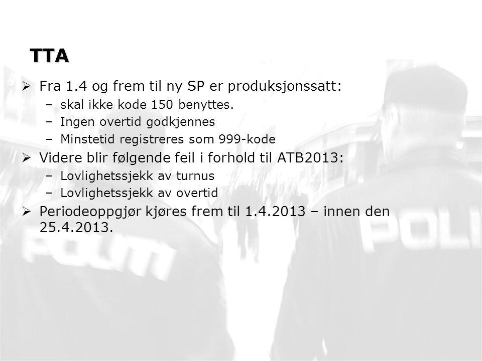 TTA  Fra 1.4 og frem til ny SP er produksjonssatt: –skal ikke kode 150 benyttes.