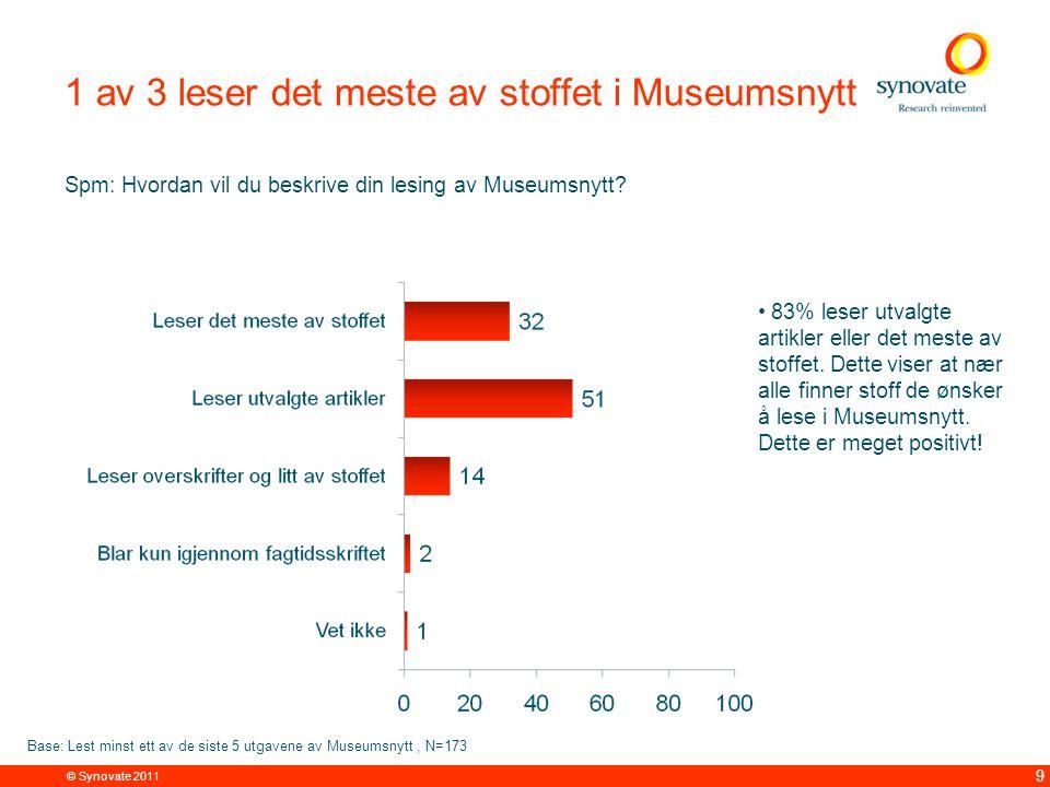 © Synovate 2011 9 1 av 3 leser det meste av stoffet i Museumsnytt Spm: Hvordan vil du beskrive din lesing av Museumsnytt.