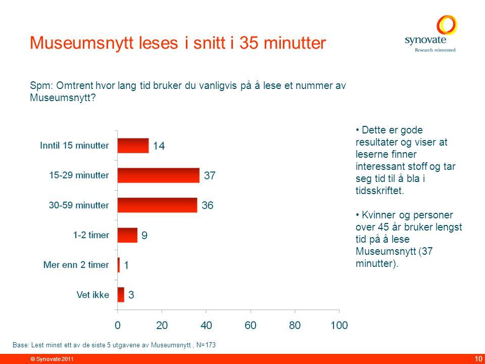 © Synovate 2011 10 Museumsnytt leses i snitt i 35 minutter Spm: Omtrent hvor lang tid bruker du vanligvis på å lese et nummer av Museumsnytt.