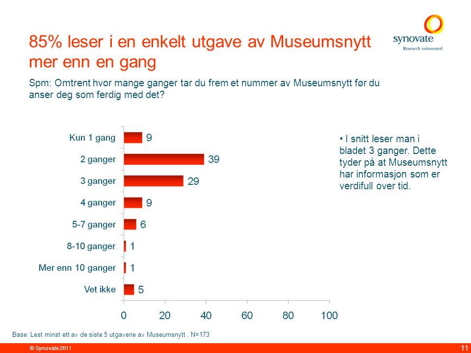 © Synovate 2011 11 85% leser i en enkelt utgave av Museumsnytt mer enn en gang Spm: Omtrent hvor mange ganger tar du frem et nummer av Museumsnytt før du anser deg som ferdig med det.