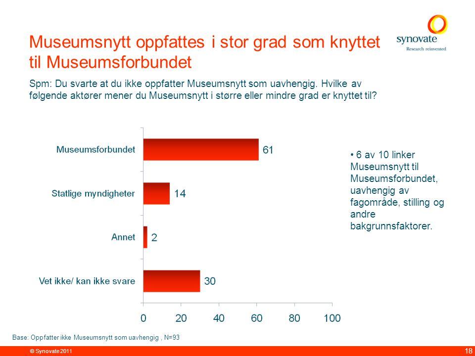 © Synovate 2011 18 Museumsnytt oppfattes i stor grad som knyttet til Museumsforbundet Spm: Du svarte at du ikke oppfatter Museumsnytt som uavhengig.