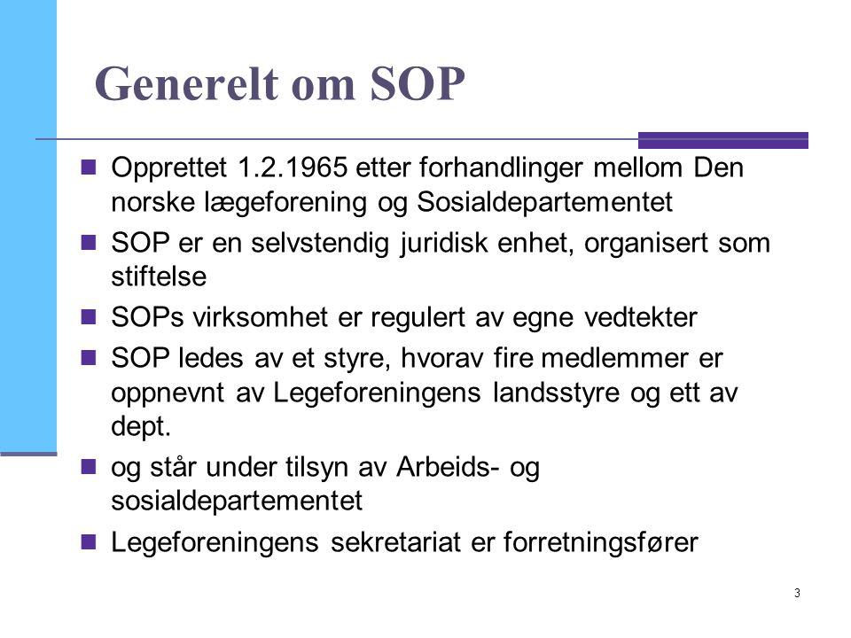 3 Generelt om SOP  Opprettet 1.2.1965 etter forhandlinger mellom Den norske lægeforening og Sosialdepartementet  SOP er en selvstendig juridisk enhe
