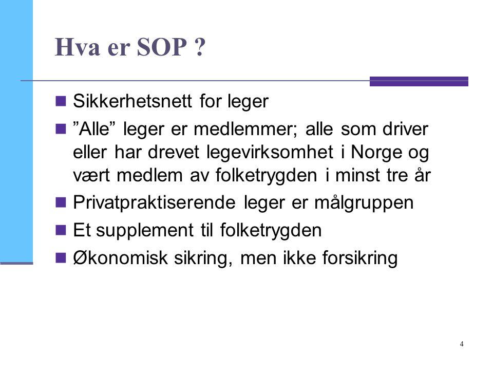 """4 Hva er SOP ?  Sikkerhetsnett for leger  """"Alle"""" leger er medlemmer; alle som driver eller har drevet legevirksomhet i Norge og vært medlem av folke"""