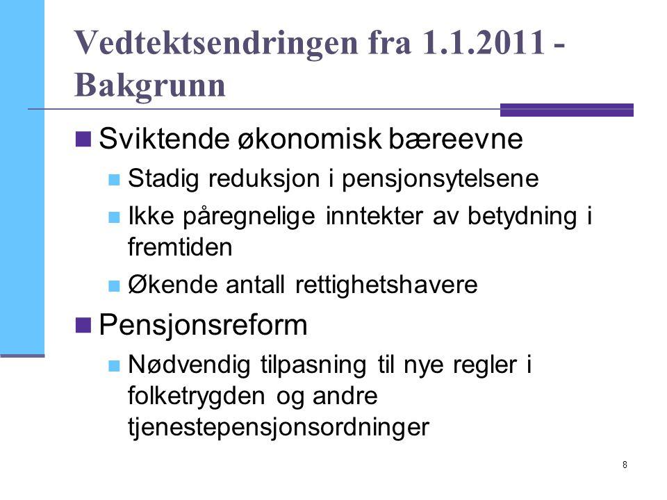 8 Vedtektsendringen fra 1.1.2011 - Bakgrunn  Sviktende økonomisk bæreevne  Stadig reduksjon i pensjonsytelsene  Ikke påregnelige inntekter av betyd