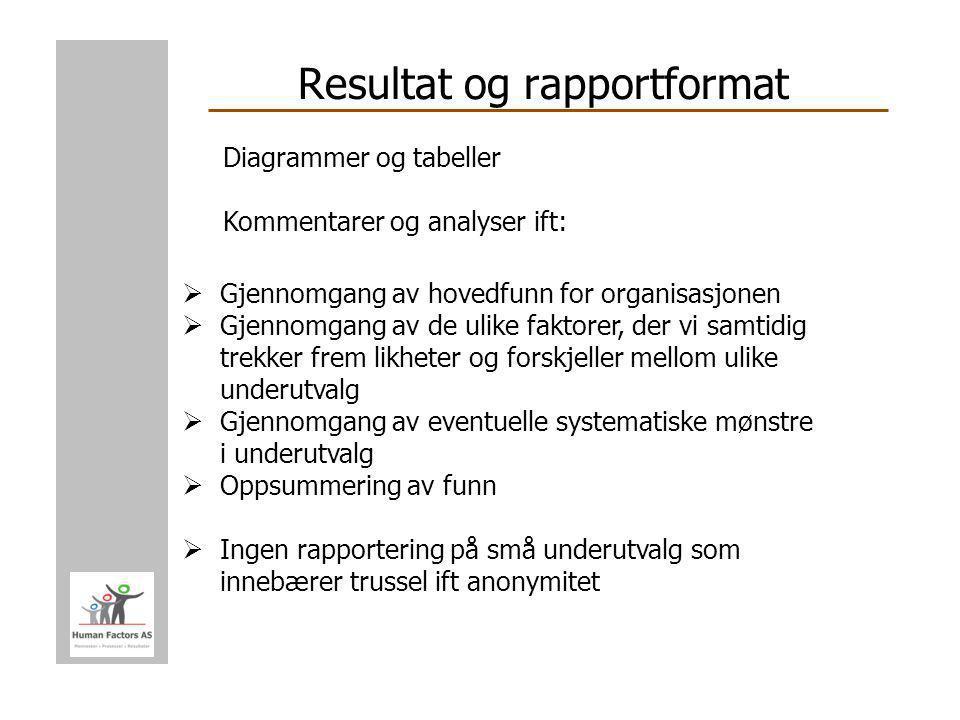 Resultat og rapportformat  Gjennomgang av hovedfunn for organisasjonen  Gjennomgang av de ulike faktorer, der vi samtidig trekker frem likheter og f