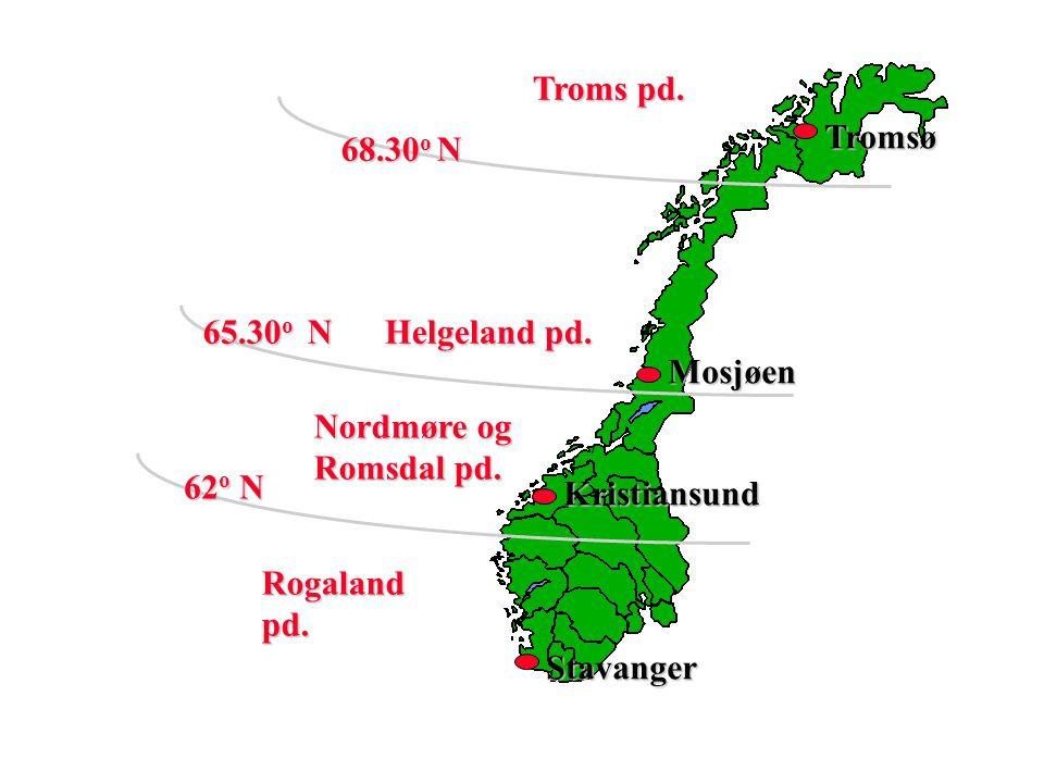 Stavanger Kristiansund Mosjøen Tromsø 62 o N Troms pd. 68.30 o N 65.30 o N Helgeland pd. Nordmøre og Romsdal pd. Rogaland pd.