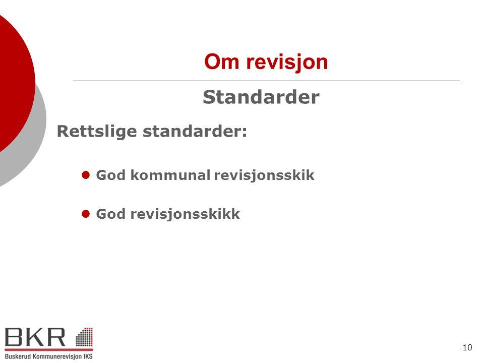 10 Om revisjon Standarder Rettslige standarder:  God kommunal revisjonsskik  God revisjonsskikk