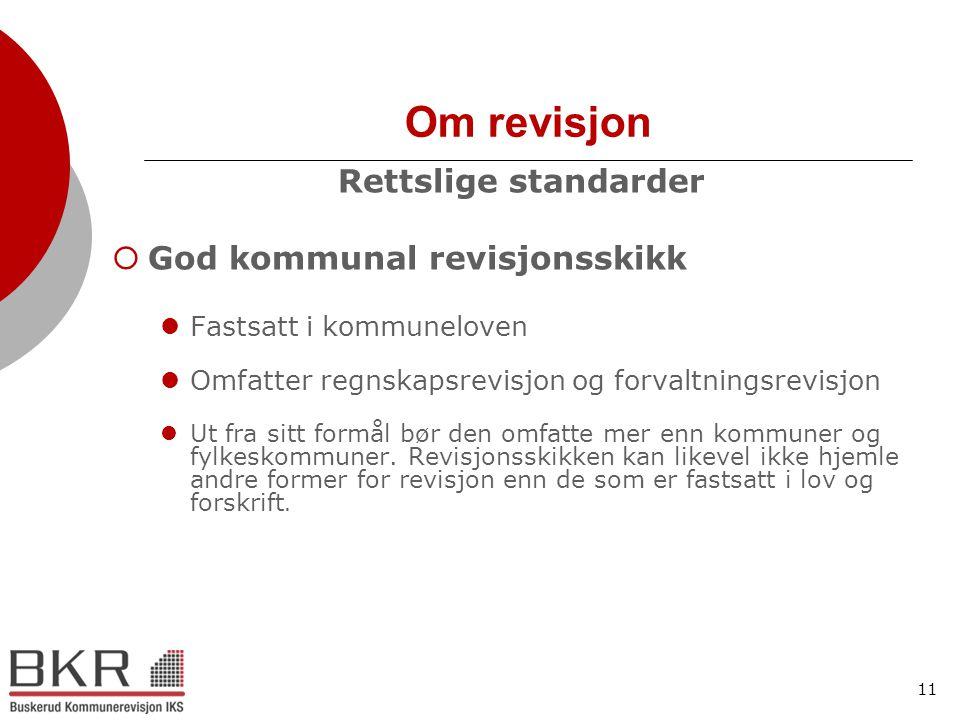 11 Om revisjon Rettslige standarder  God kommunal revisjonsskikk  Fastsatt i kommuneloven  Omfatter regnskapsrevisjon og forvaltningsrevisjon  Ut