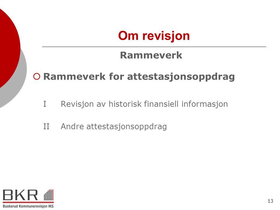 13 Om revisjon Rammeverk  Rammeverk for attestasjonsoppdrag IRevisjon av historisk finansiell informasjon IIAndre attestasjonsoppdrag