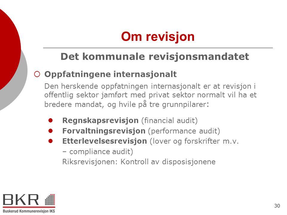 30 Om revisjon Det kommunale revisjonsmandatet  Oppfatningene internasjonalt Den herskende oppfatningen internasjonalt er at revisjon i offentlig sek