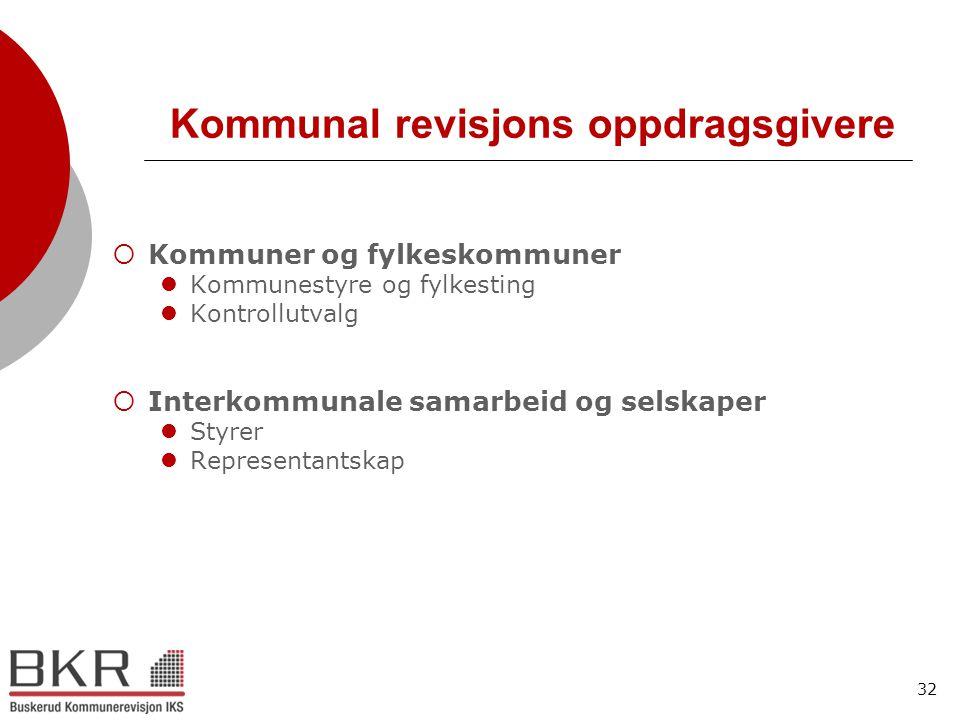 32 Kommunal revisjons oppdragsgivere  Kommuner og fylkeskommuner  Kommunestyre og fylkesting  Kontrollutvalg  Interkommunale samarbeid og selskape