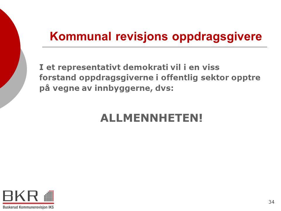 34 Kommunal revisjons oppdragsgivere I et representativt demokrati vil i en viss forstand oppdragsgiverne i offentlig sektor opptre på vegne av innbyg