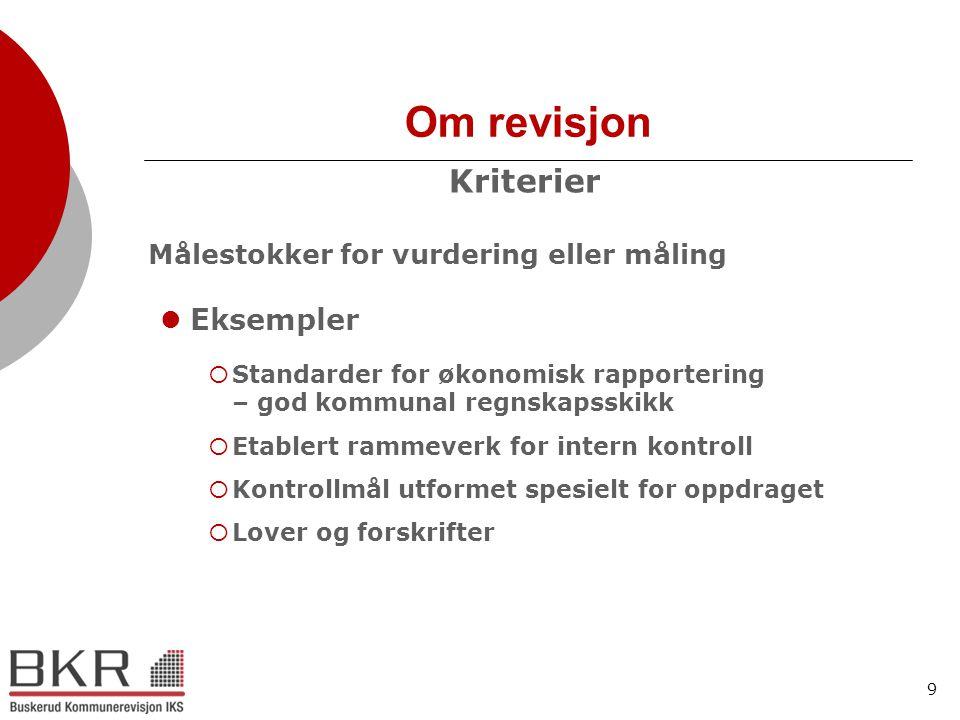9 Om revisjon Kriterier Målestokker for vurdering eller måling  Eksempler  Standarder for økonomisk rapportering – god kommunal regnskapsskikk  Eta