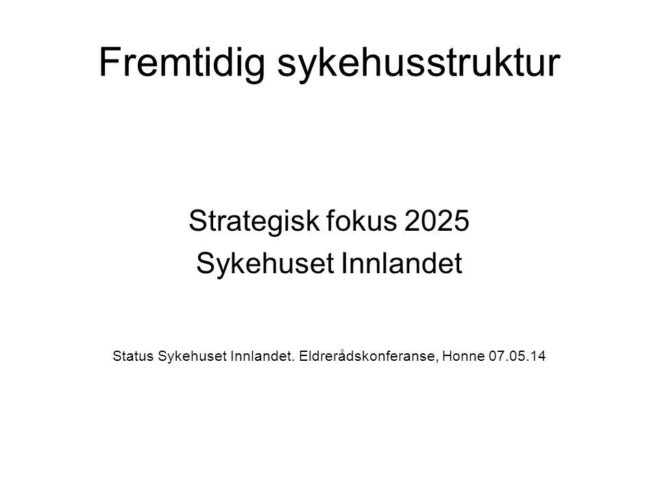 Fremtidig sykehusstruktur Strategisk fokus 2025 Sykehuset Innlandet Status Sykehuset Innlandet. Eldrerådskonferanse, Honne 07.05.14