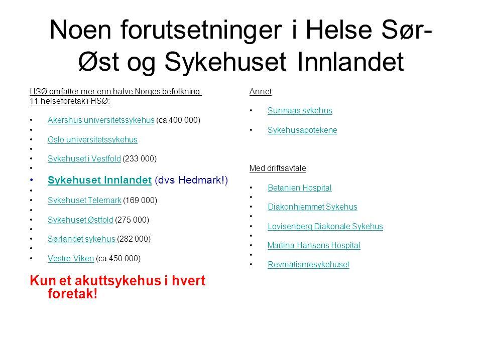 Noen forutsetninger i Helse Sør- Øst og Sykehuset Innlandet HSØ omfatter mer enn halve Norges befolkning. 11 helseforetak i HSØ: •Akershus universitet