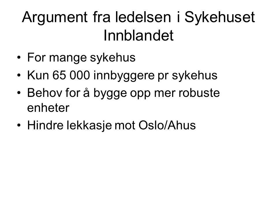 Argument fra ledelsen i Sykehuset Innblandet •For mange sykehus •Kun 65 000 innbyggere pr sykehus •Behov for å bygge opp mer robuste enheter •Hindre lekkasje mot Oslo/Ahus