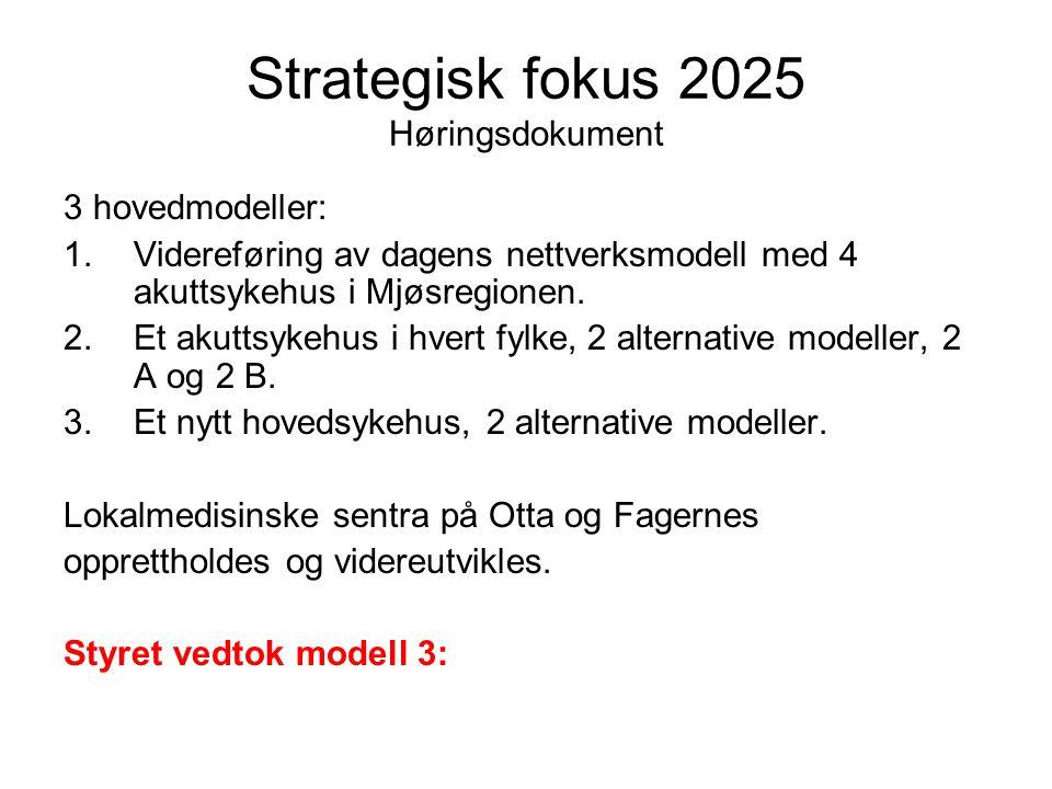 Strategisk fokus 2025 Høringsdokument 3 hovedmodeller: 1.Videreføring av dagens nettverksmodell med 4 akuttsykehus i Mjøsregionen. 2.Et akuttsykehus i