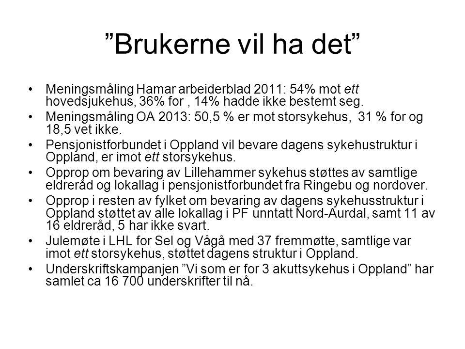 """""""Brukerne vil ha det"""" •Meningsmåling Hamar arbeiderblad 2011: 54% mot ett hovedsjukehus, 36% for, 14% hadde ikke bestemt seg. •Meningsmåling OA 2013:"""