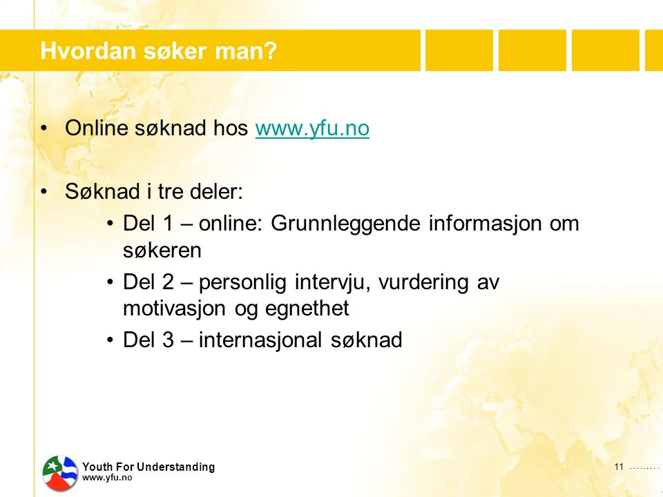 …..…. Youth For Understanding www.yfu.no Hvordan søker man.