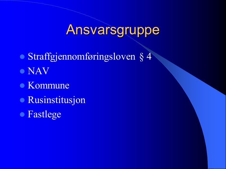 Ansvarsgruppe  Straffgjennomføringsloven § 4  NAV  Kommune  Rusinstitusjon  Fastlege