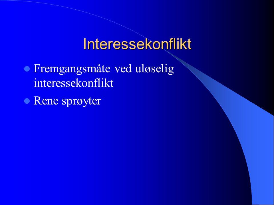 Interessekonflikt  Fremgangsmåte ved uløselig interessekonflikt  Rene sprøyter