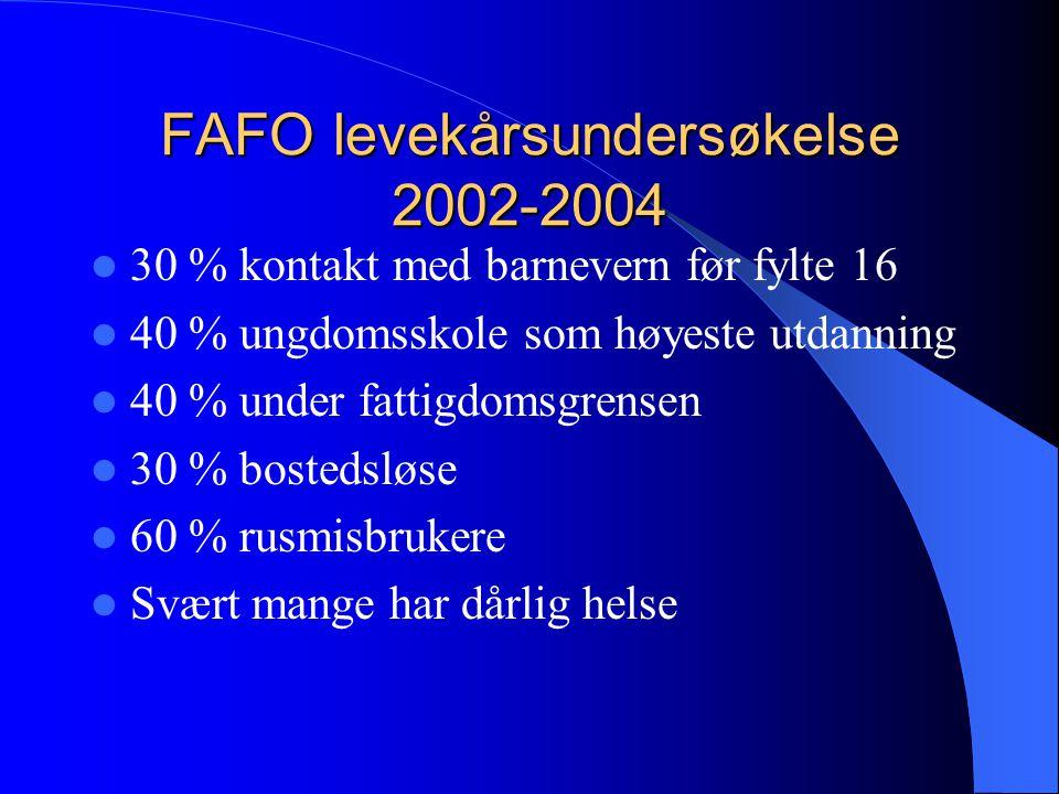 FAFO levekårsundersøkelse 2002-2004  30 % kontakt med barnevern før fylte 16  40 % ungdomsskole som høyeste utdanning  40 % under fattigdomsgrensen  30 % bostedsløse  60 % rusmisbrukere  Svært mange har dårlig helse