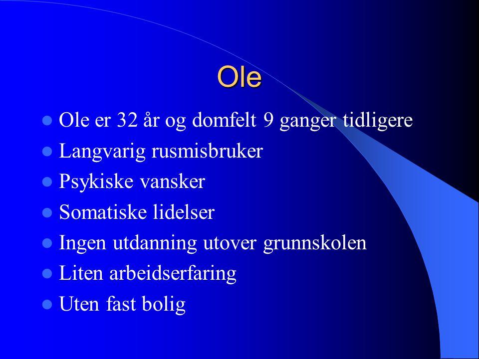 Ole  Ole er 32 år og domfelt 9 ganger tidligere  Langvarig rusmisbruker  Psykiske vansker  Somatiske lidelser  Ingen utdanning utover grunnskolen  Liten arbeidserfaring  Uten fast bolig