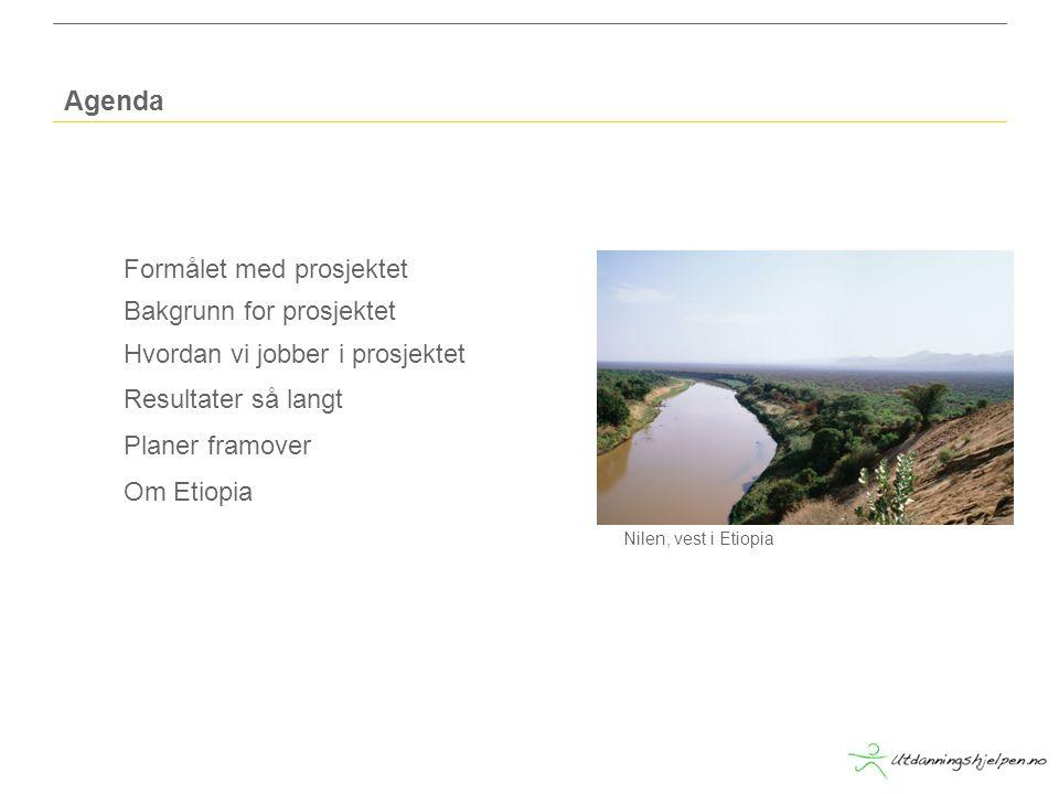 Formålet med prosjektet Bakgrunn for prosjektet Hvordan vi jobber i prosjektet Resultater så langt Planer framover Om Etiopia Agenda Nilen, vest i Etiopia
