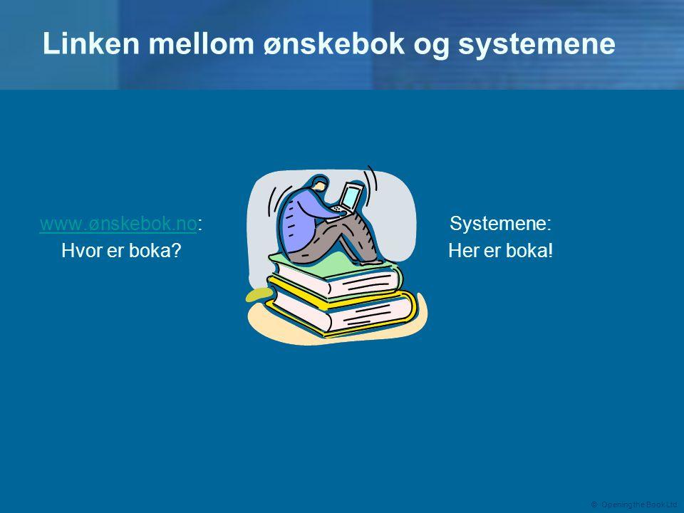 © Opening the Book Ltd Linken mellom ønskebok og systemene www.ønskebok.nowww.ønskebok.no: Hvor er boka.