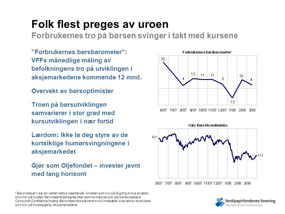 Folk flest preges av uroen Forbrukernes tro på børsen svinger i takt med kursene Forbrukernes børsbarometer : VFFs månedlige måling av befolkningens tro på utviklingen i aksjemarkedene kommende 12 mnd.