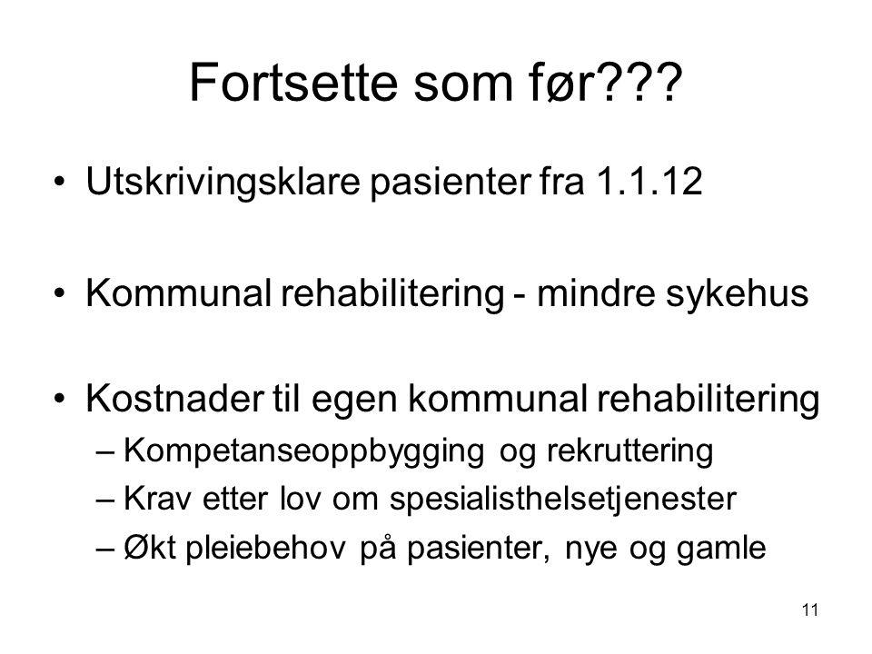 11 Fortsette som før??? •Utskrivingsklare pasienter fra 1.1.12 •Kommunal rehabilitering - mindre sykehus •Kostnader til egen kommunal rehabilitering –