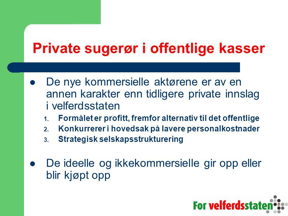 Private sugerør i offentlige kasser  De nye kommersielle aktørene er av en annen karakter enn tidligere private innslag i velferdsstaten 1. Formålet