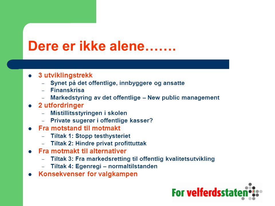 Dere er ikke alene…….  3 utviklingstrekk – Synet på det offentlige, innbyggere og ansatte – Finanskrisa – Markedstyring av det offentlige – New publi