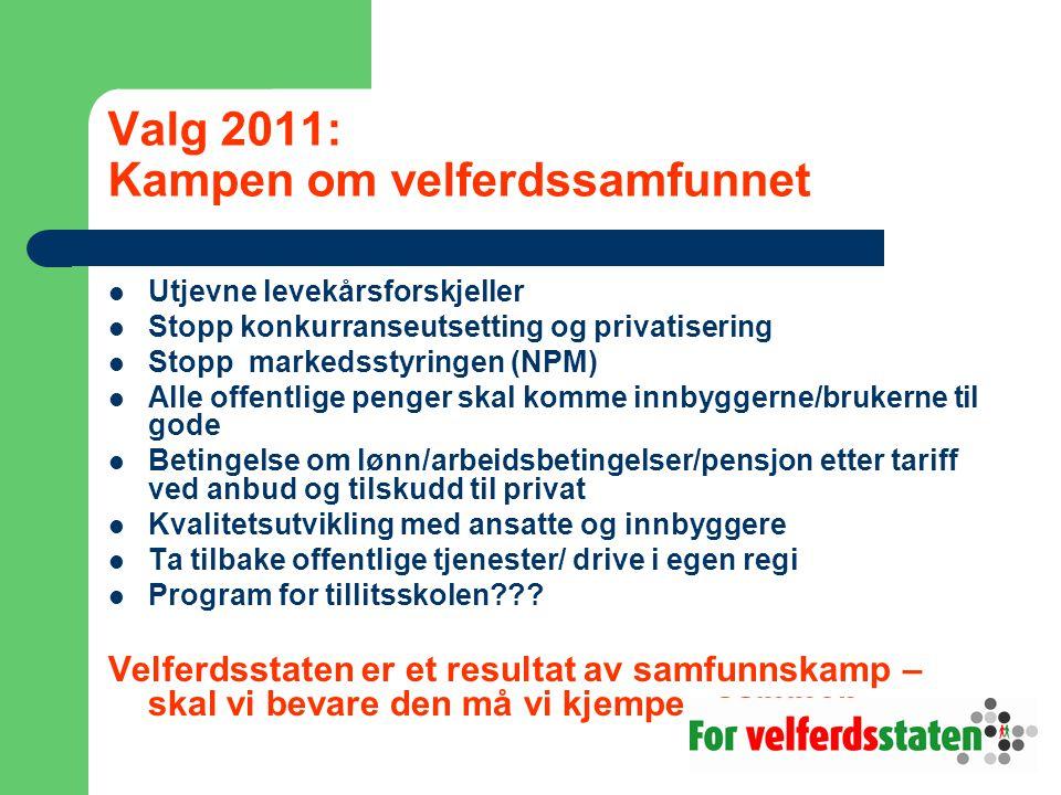 Valg 2011: Kampen om velferdssamfunnet  Utjevne levekårsforskjeller  Stopp konkurranseutsetting og privatisering  Stopp markedsstyringen (NPM)  Al