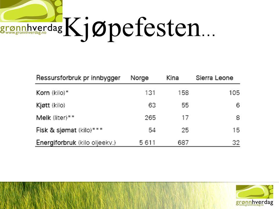 •Målt i tonn, har importen av klær til Norge •økt med 98 % siden 1990, importen av møbler med 222 % og av sportsutstyr med 515 %.