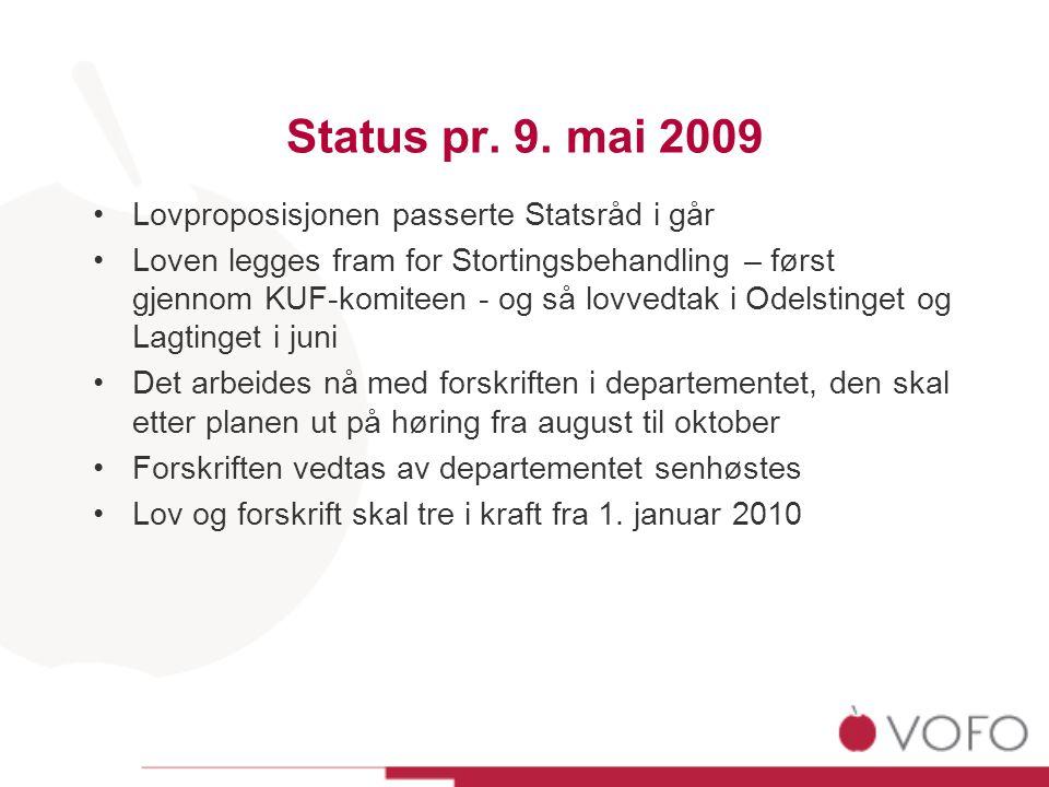 Status pr. 9. mai 2009 •Lovproposisjonen passerte Statsråd i går •Loven legges fram for Stortingsbehandling – først gjennom KUF-komiteen - og så lovve