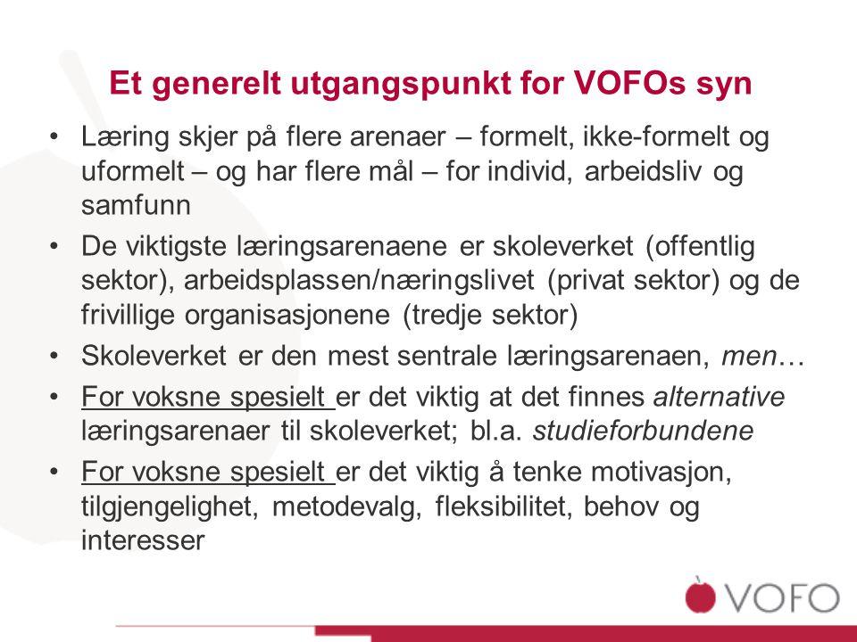 Et generelt utgangspunkt for VOFOs syn •Læring skjer på flere arenaer – formelt, ikke-formelt og uformelt – og har flere mål – for individ, arbeidsliv